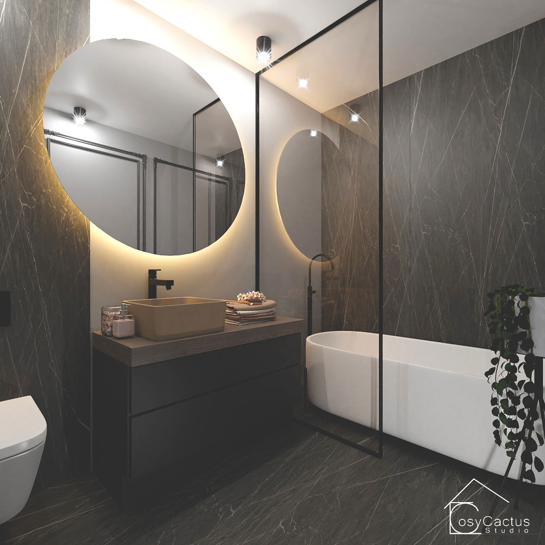design baie oglinda banda led